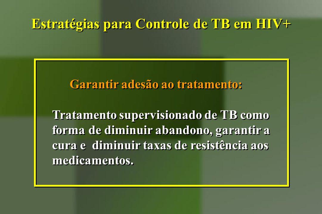 Garantir adesão ao tratamento: Tratamento supervisionado de TB como forma de diminuir abandono, garantir a cura e diminuir taxas de resistência aos me