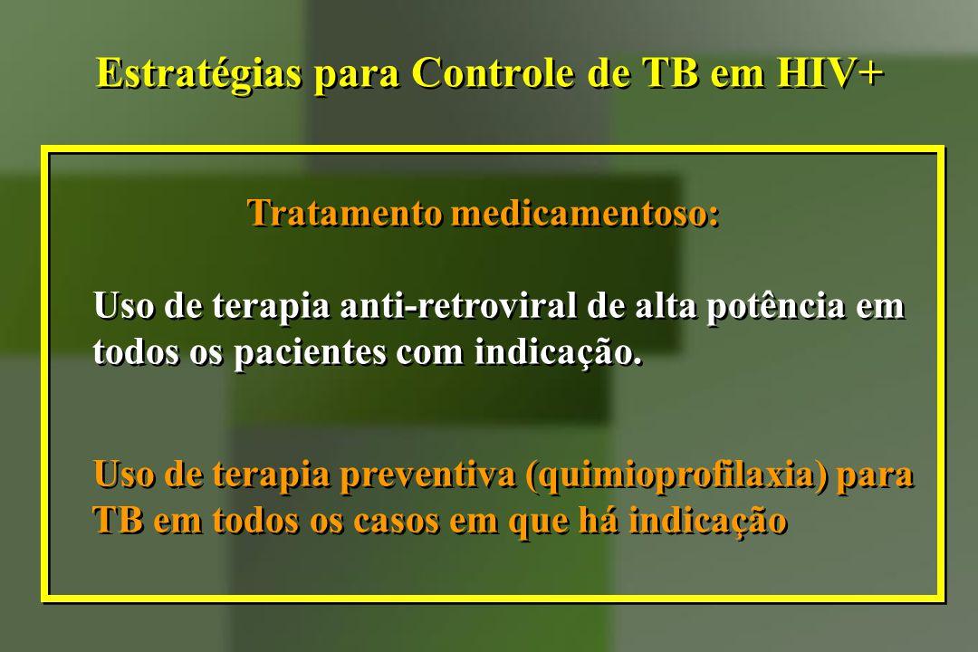 Tratamento medicamentoso: Uso de terapia anti-retroviral de alta potência em todos os pacientes com indicação. Uso de terapia preventiva (quimioprofil