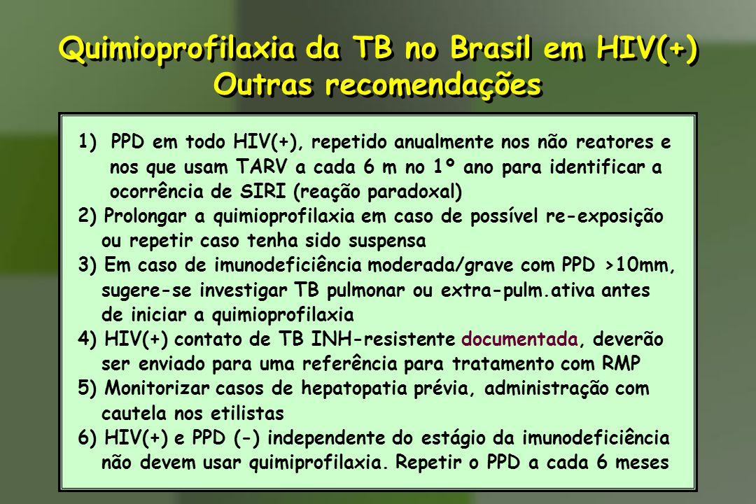 1)PPD em todo HIV(+), repetido anualmente nos não reatores e nos que usam TARV a cada 6 m no 1º ano para identificar a ocorrência de SIRI (reação para