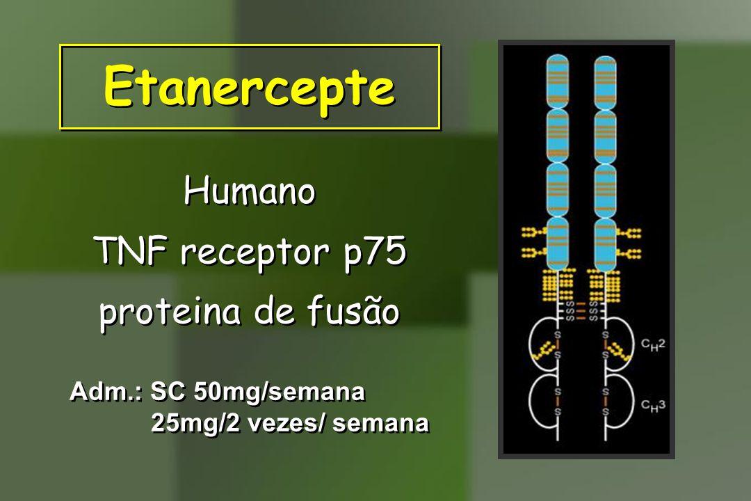 Etanercepte Humano TNF receptor p75 proteina de fusão Humano TNF receptor p75 proteina de fusão Adm.: SC 50mg/semana 25mg/2 vezes/ semana Adm.: SC 50m