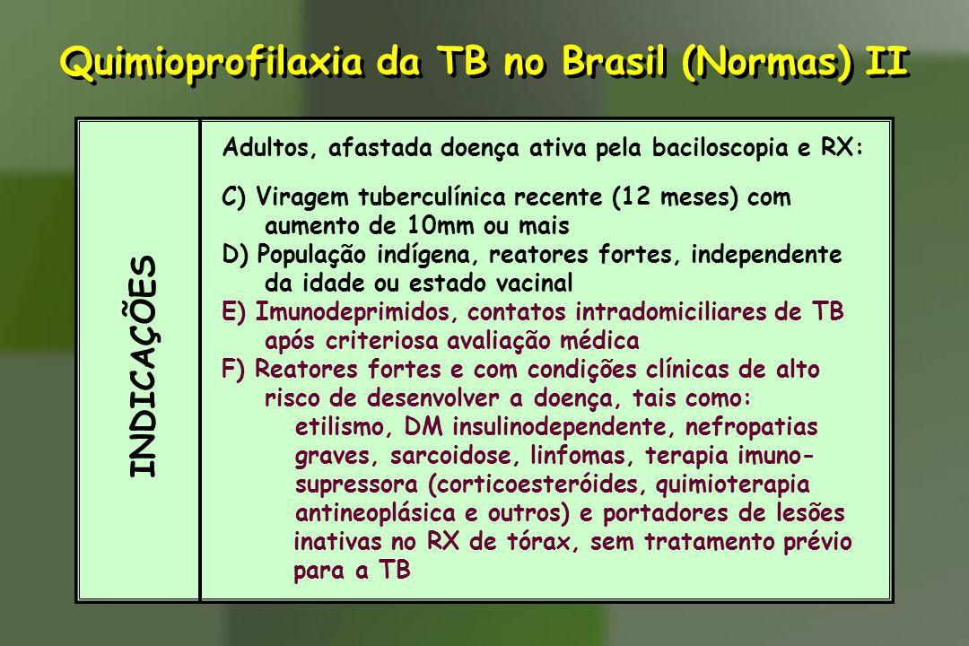 INDICAÇÕES Adultos, afastada doença ativa pela baciloscopia e RX: C) Viragem tuberculínica recente (12 meses) com aumento de 10mm ou mais D) População