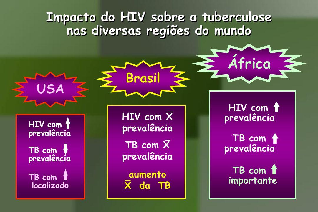 INDICAÇÕES G) Quimioprofilaxia para TB em pacientes HIV (+) Indicações: Ausência de sinais e sintomas da TB A) Com radiografia de tórax normal 1) PPD >5mm 2) Contato intradomiciliar ou institucional 3) PPD não reator ou <5mm, com PPD(+) anterior comprovado, não submetido a tratamento ou quimioprofilaxia na ocasião B) Com radiografia de tórax anormal Com lesões residuais de TB sem tratamento anterior (afastada a TB ativa por escarros e RX anteriores), independente do resultado do PPD Quimioprofilaxia da TB no Brasil em HIV(+)