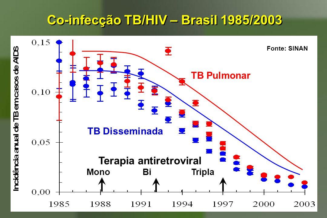 Co-infecção TB/HIV – Brasil 1985/2003 TB Pulmonar TB Disseminada Terapia antiretroviral Mono Bi Tripla Fonte: SINAN