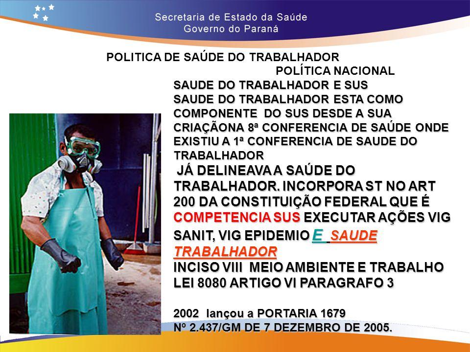 POLITICA DE SAÚDE DO TRABALHADOR Trajeto 14,7 POLÍTICA NACIONAL SAUDE DO TRABALHADOR E SUS SAUDE DO TRABALHADOR ESTA COMO COMPONENTE DO SUS DESDE A SU