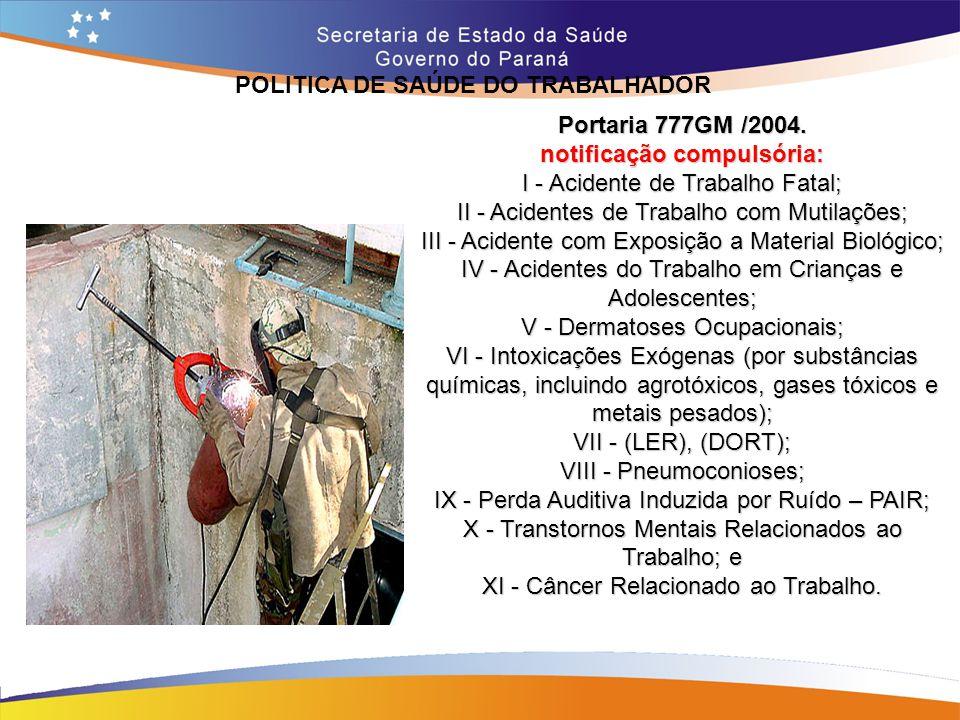 POLITICA DE SAÚDE DO TRABALHADOR Trajeto 14,7 Portaria 777GM /2004. notificação compulsória: I - Acidente de Trabalho Fatal; II - Acidentes de Trabalh