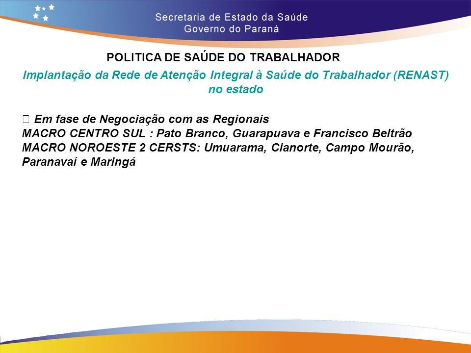 POLITICA DE SAÚDE DO TRABALHADOR Trajeto 14,7 Implantação da Rede de Atenção Integral à Saúde do Trabalhador (RENAST) no estado • Em fase de Negociaçã