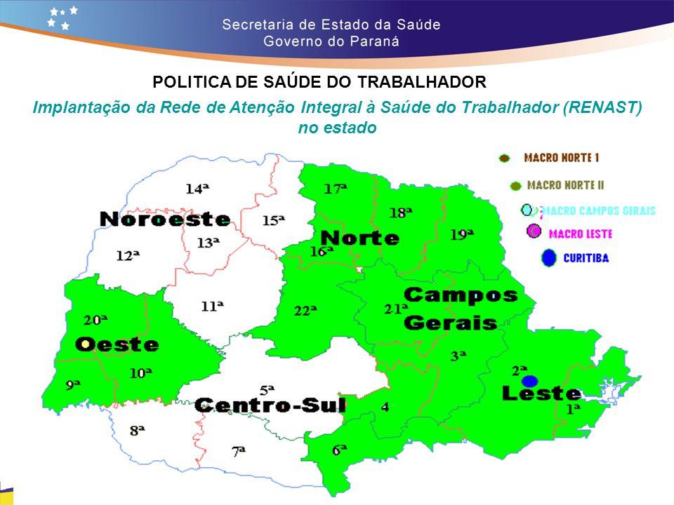 POLITICA DE SAÚDE DO TRABALHADOR Trajeto 14,7 Implantação da Rede de Atenção Integral à Saúde do Trabalhador (RENAST) no estado