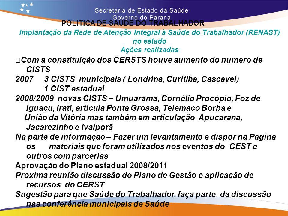 POLITICA DE SAÚDE DO TRABALHADOR Trajeto 14,7 Implantação da Rede de Atenção Integral à Saúde do Trabalhador (RENAST) no estado Ações realizadas • Com