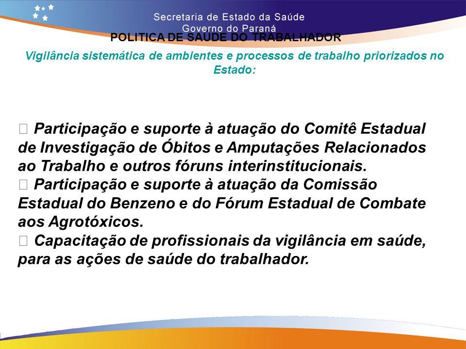POLITICA DE SAÚDE DO TRABALHADOR Trajeto 14,7 Vigilância sistemática de ambientes e processos de trabalho priorizados no Estado: • Participação e supo