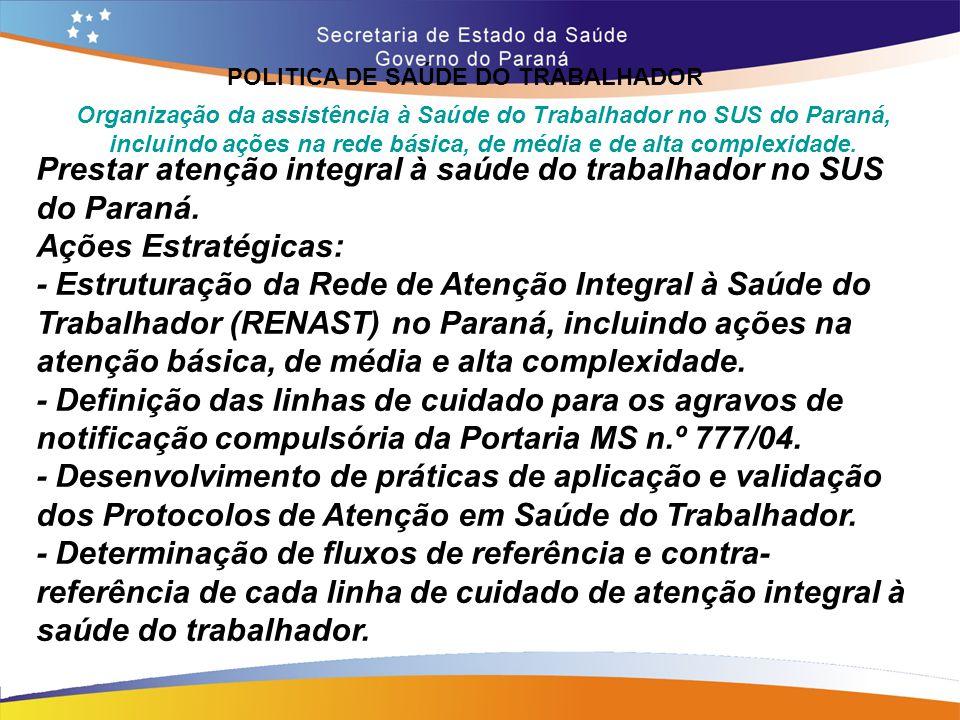 POLITICA DE SAÚDE DO TRABALHADOR Trajeto 14,7 Organização da assistência à Saúde do Trabalhador no SUS do Paraná, incluindo ações na rede básica, de m