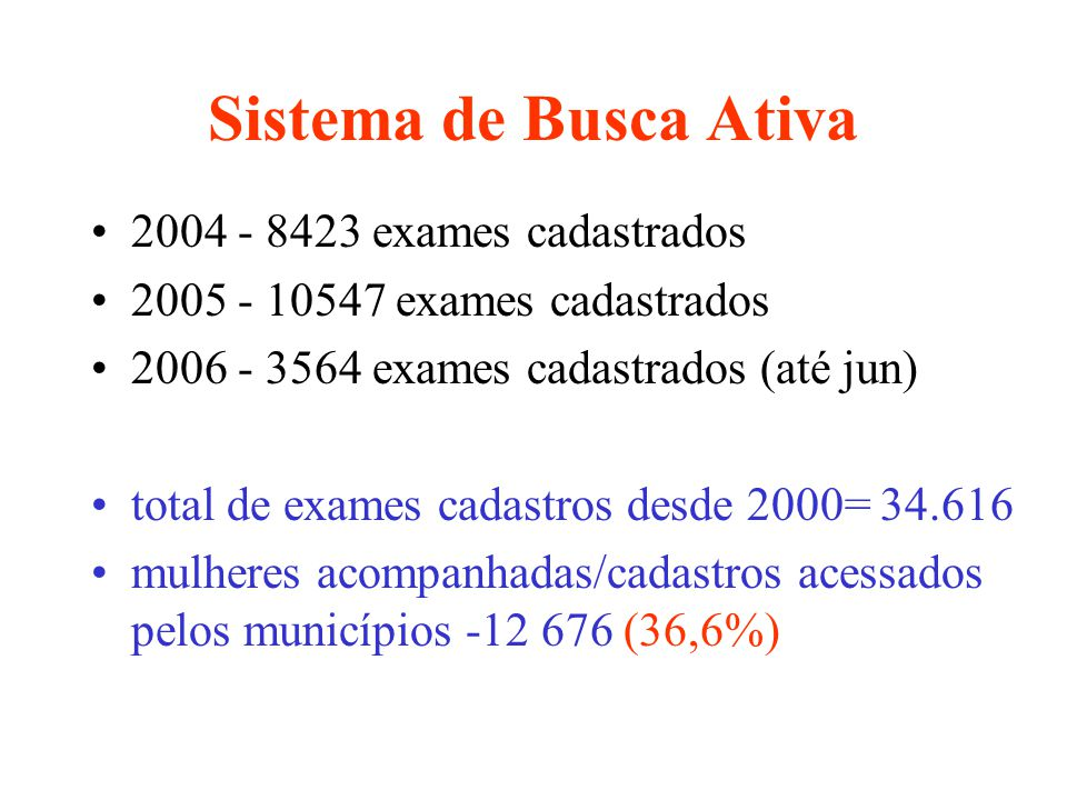 Sistema de Busca Ativa 2004 - 8423 exames cadastrados 2005 - 10547 exames cadastrados 2006 - 3564 exames cadastrados (até jun) total de exames cadastr
