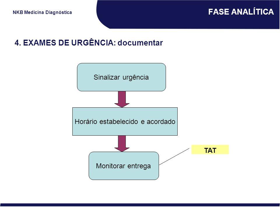 NKB Medicina Diagnóstica FASE ANALÍTICA 4. EXAMES DE URGÊNCIA: documentar Sinalizar urgência Horário estabelecido e acordado Monitorar entrega TAT