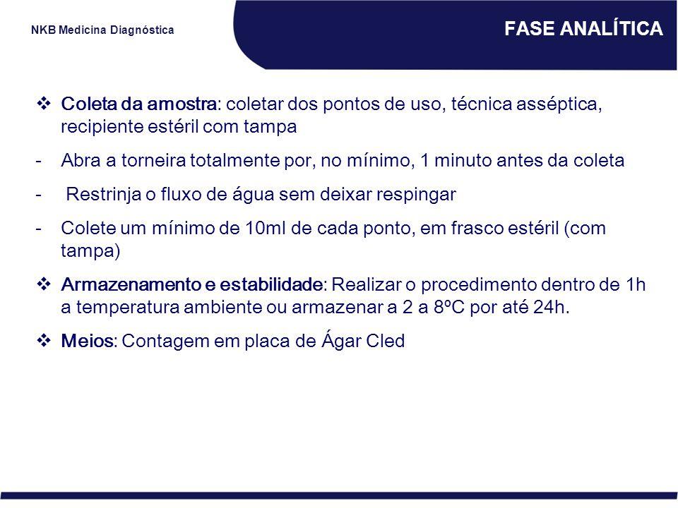 NKB Medicina Diagnóstica FASE ANALÍTICA  Coleta da amostra: coletar dos pontos de uso, técnica asséptica, recipiente estéril com tampa -Abra a tornei