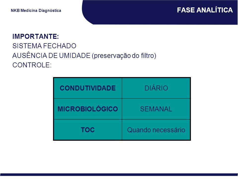 NKB Medicina Diagnóstica FASE ANALÍTICA IMPORTANTE: SISTEMA FECHADO AUSÊNCIA DE UMIDADE (preservação do filtro) CONTROLE: CONDUTIVIDADEDIÁRIO MICROBIO