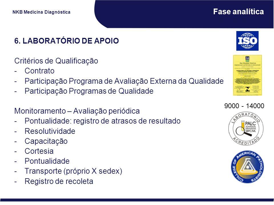 NKB Medicina Diagnóstica Fase analítica 6. LABORATÓRIO DE APOIO Critérios de Qualificação -Contrato -Participação Programa de Avaliação Externa da Qua