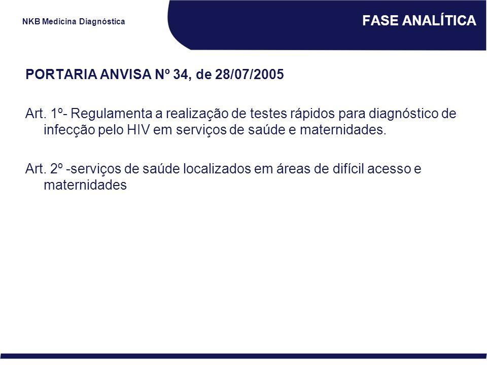 NKB Medicina Diagnóstica FASE ANALÍTICA PORTARIA ANVISA Nº 34, de 28/07/2005 Art. 1º- Regulamenta a realização de testes rápidos para diagnóstico de i