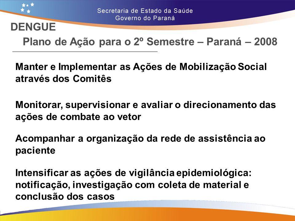 Plano de Ação para o 2º Semestre – Paraná – 2008 DENGUE Manter e Implementar as Ações de Mobilização Social através dos Comitês Monitorar, supervision