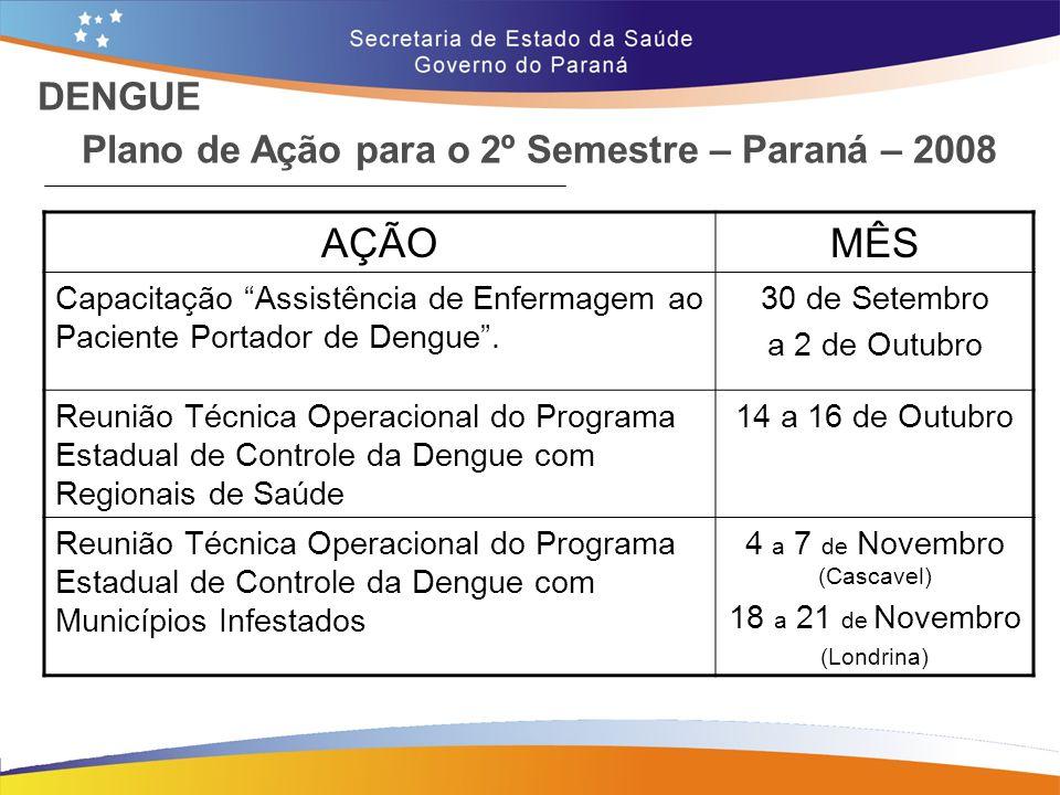 """Plano de Ação para o 2º Semestre – Paraná – 2008 AÇÃOMÊS Capacitação """"Assistência de Enfermagem ao Paciente Portador de Dengue"""". 30 de Setembro a 2 de"""