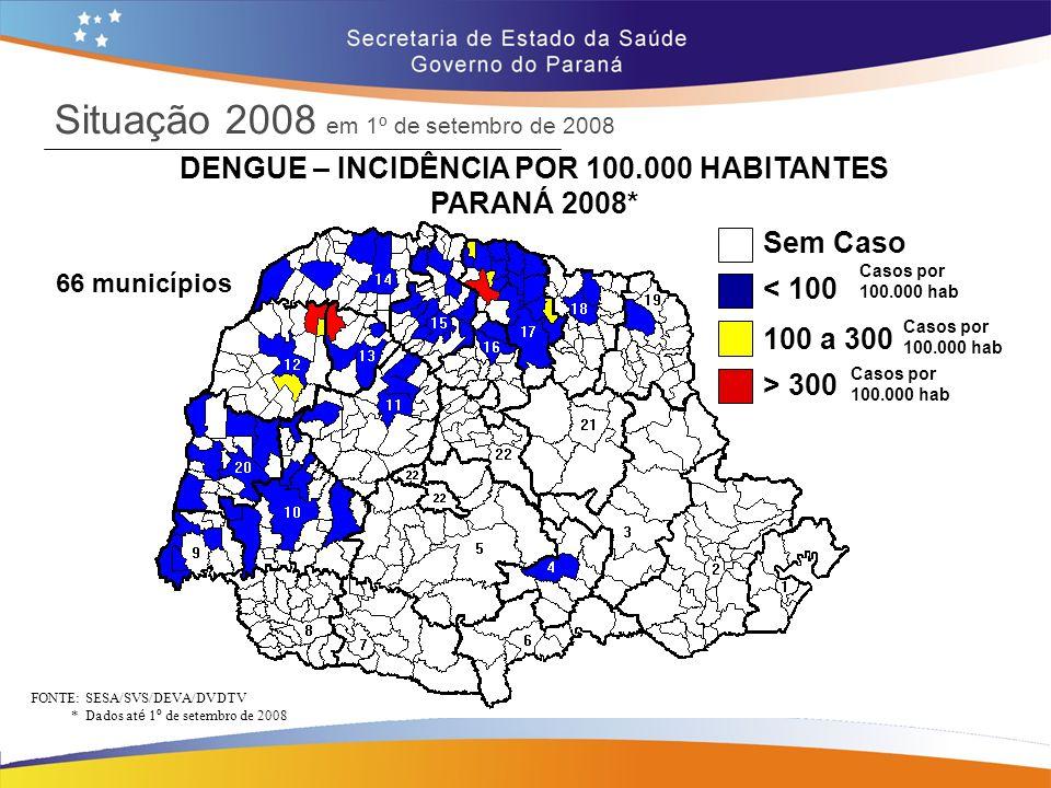 Situação 2008 em 1º de setembro de 2008 DENGUE – INCIDÊNCIA POR 100.000 HABITANTES PARANÁ 2008* FONTE: SESA/SVS/DEVA/DVDTV * Dados at é 1 º de setembr
