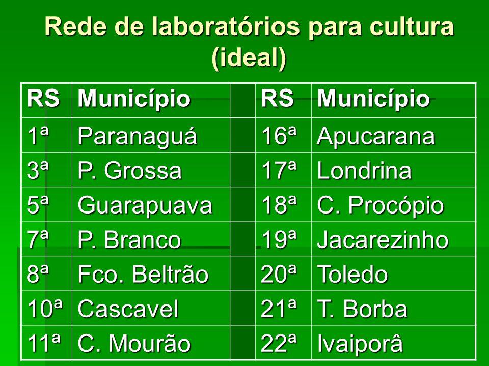 Rede de laboratórios para cultura (ideal) RSMunicípioRSMunicípio 1ªParanaguá16ªApucarana 3ª P. Grossa 17ªLondrina 5ªGuarapuava18ª C. Procópio 7ª P. Br