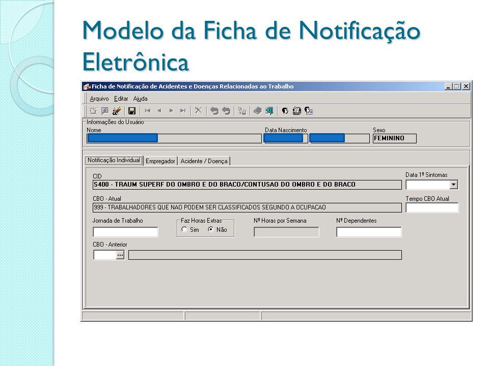Modelo da Ficha de Notificação Eletrônica
