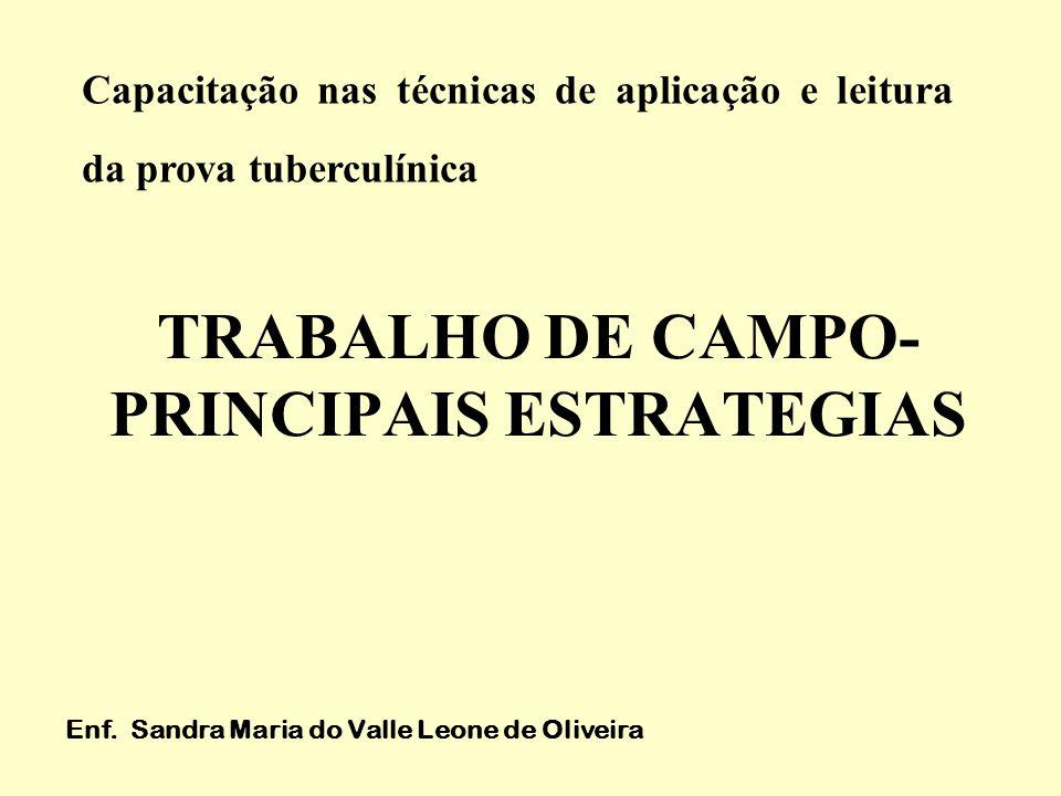 TRABALHO DE CAMPO- PRINCIPAIS ESTRATEGIAS Enf. Sandra Maria do Valle Leone de Oliveira Capacitação nas técnicas de aplicação e leitura da prova tuberc