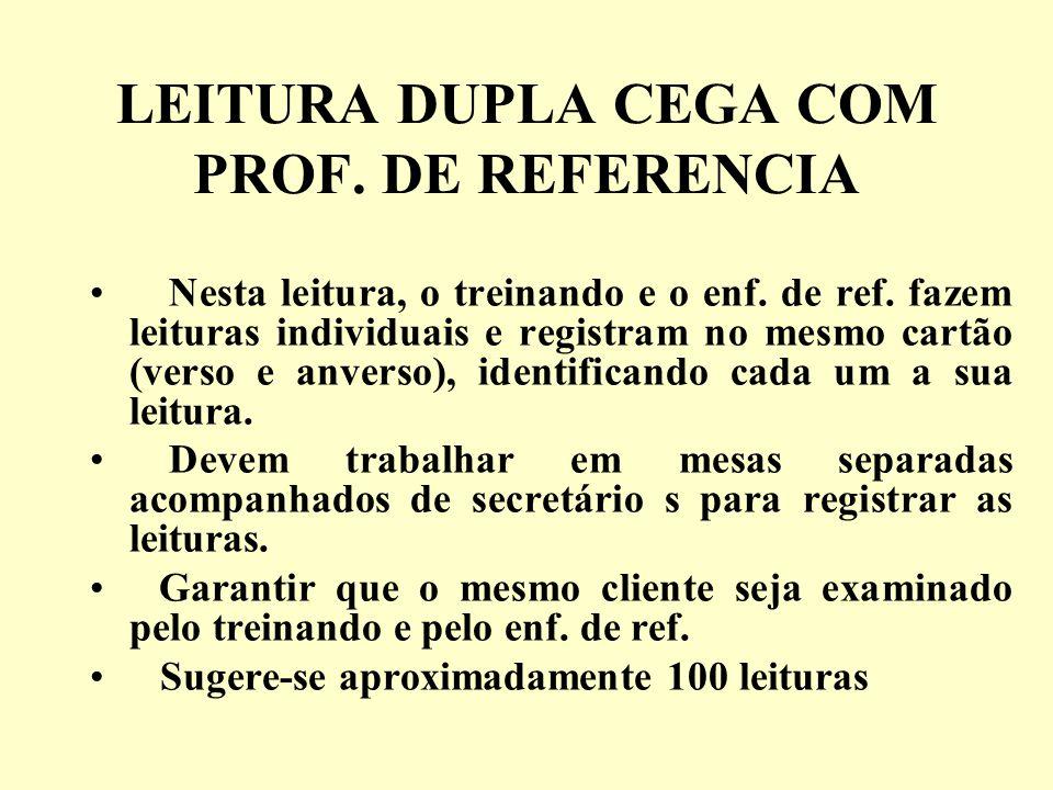 LEITURA DUPLA CEGA COM PROF. DE REFERENCIA Nesta leitura, o treinando e o enf. de ref. fazem leituras individuais e registram no mesmo cartão (verso e