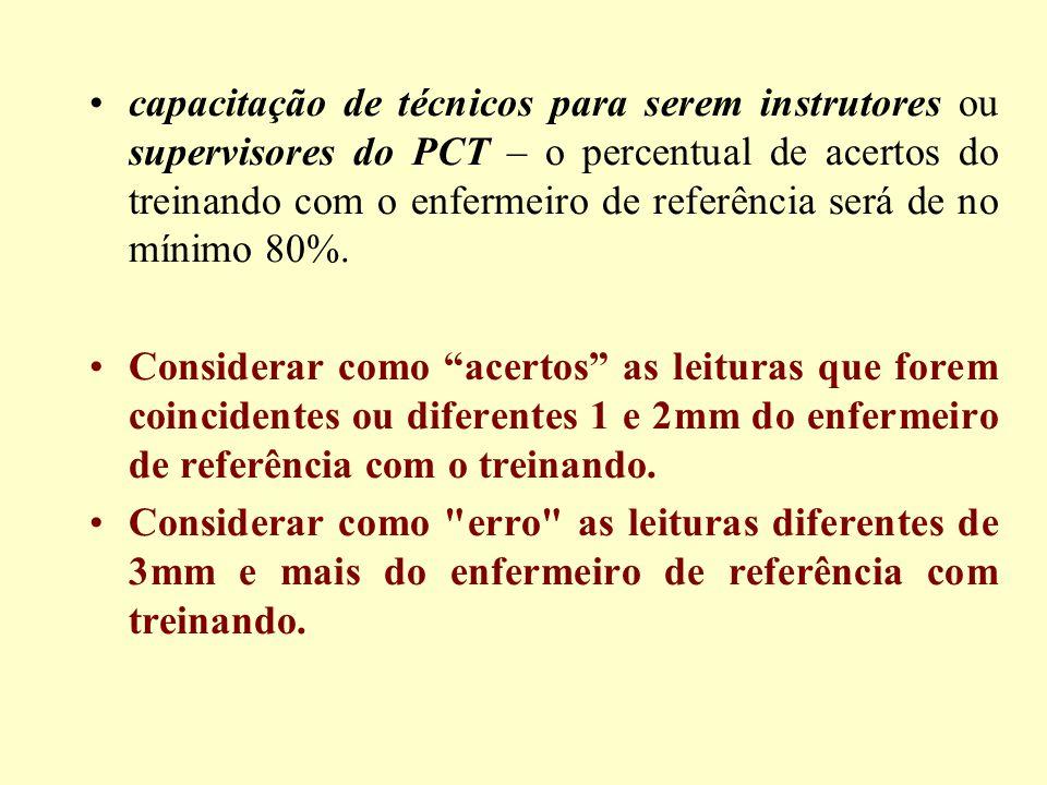 capacitação de técnicos para serem instrutores ou supervisores do PCT – o percentual de acertos do treinando com o enfermeiro de referência será de no