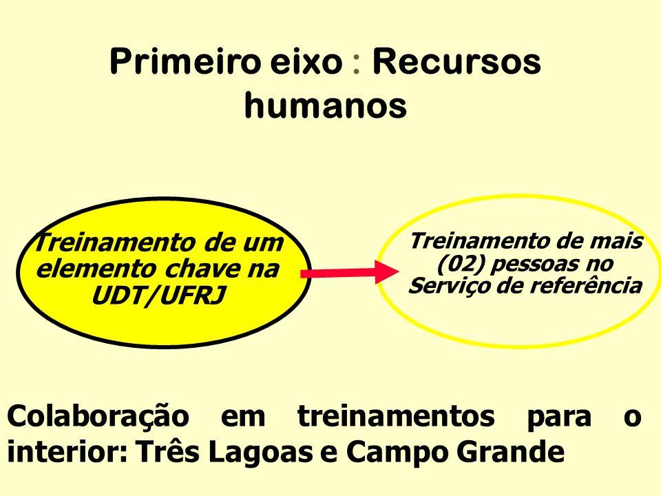 Treinamento de mais (02) pessoas no Serviço de referência Colaboração em treinamentos para o interior: Três Lagoas e Campo Grande Primeiro eixo : Recu