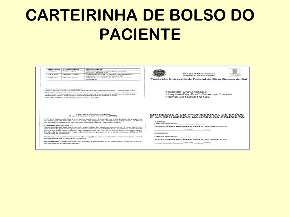 CARTEIRINHA DE BOLSO DO PACIENTE