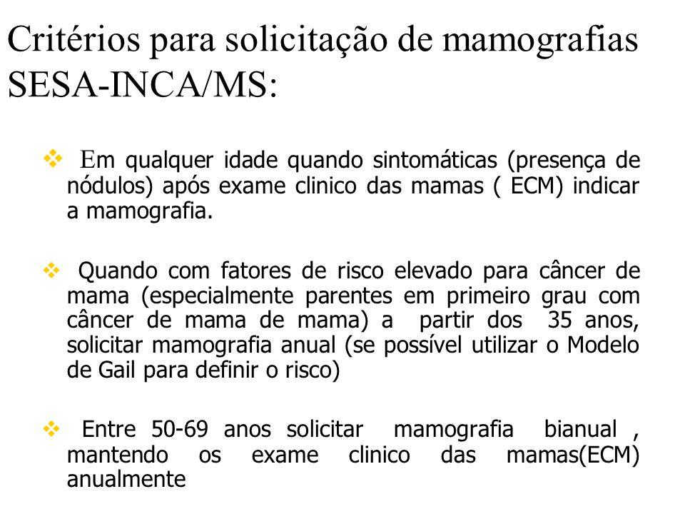 Critérios para solicitação de mamografias SESA-INCA/MS:  E m qualquer idade quando sintomáticas (presença de nódulos) após exame clinico das mamas ( ECM) indicar a mamografia.