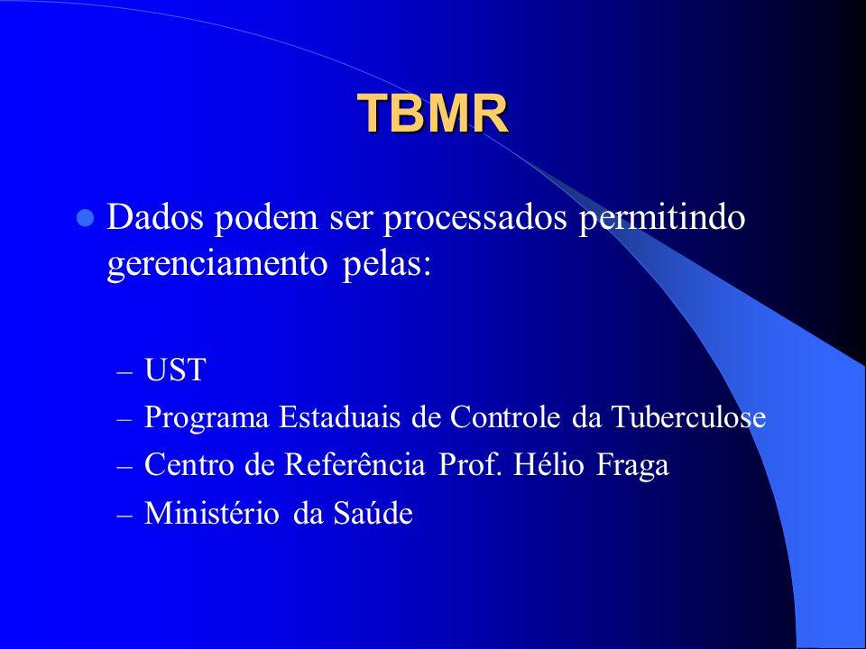 TBMR Dados registrados nas fichas de notificação geram informações para elaboração de relatórios epidemiológicos: Análise Difusão das características Tendências Possibilitam tomadas de decisão pelos gestores.