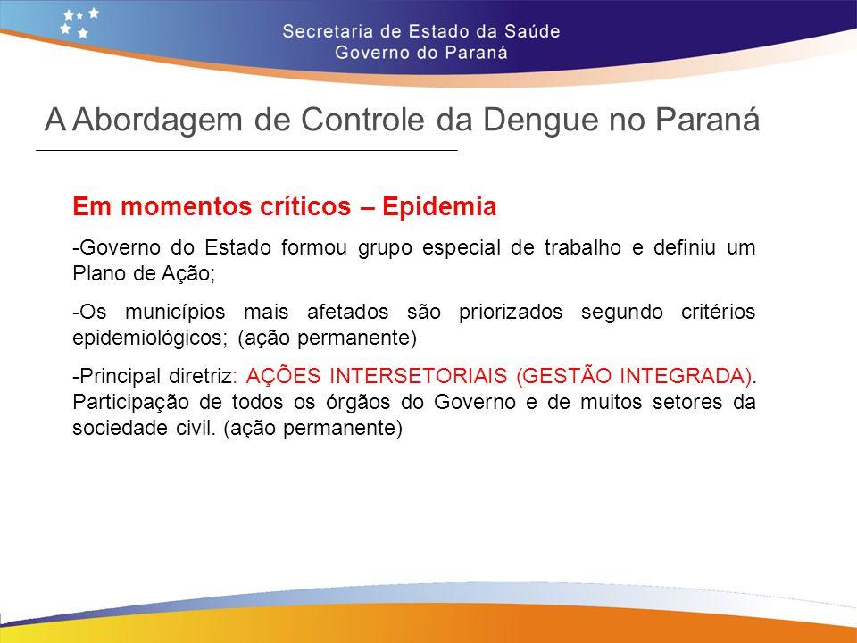Em momentos críticos – Epidemia -Governo do Estado formou grupo especial de trabalho e definiu um Plano de Ação; -Os municípios mais afetados são prio