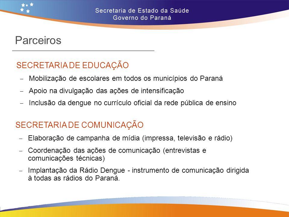 Parceiros SECRETARIA DE EDUCAÇÃO  Mobilização de escolares em todos os municípios do Paraná  Apoio na divulgação das ações de intensificação  Inclu