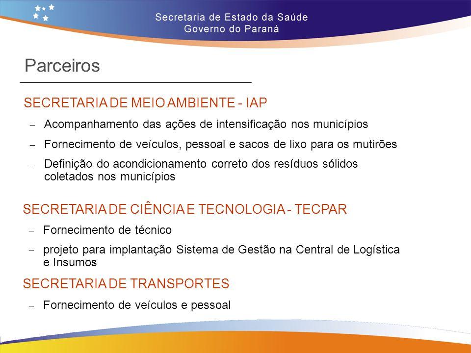 Parceiros SECRETARIA DE MEIO AMBIENTE - IAP  Acompanhamento das ações de intensificação nos municípios  Fornecimento de veículos, pessoal e sacos de