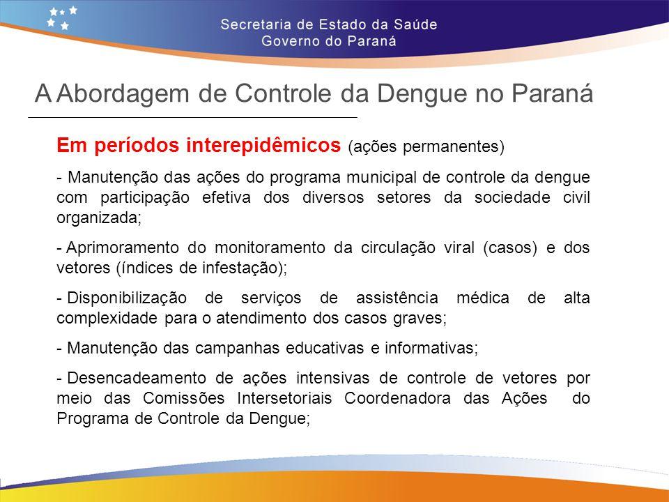 Em períodos interepidêmicos (ações permanentes) - Manutenção das ações do programa municipal de controle da dengue com participação efetiva dos divers