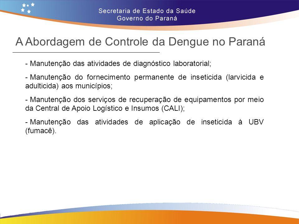 - Manutenção das atividades de diagnóstico laboratorial; - Manutenção do fornecimento permanente de inseticida (larvicida e adulticida) aos municípios