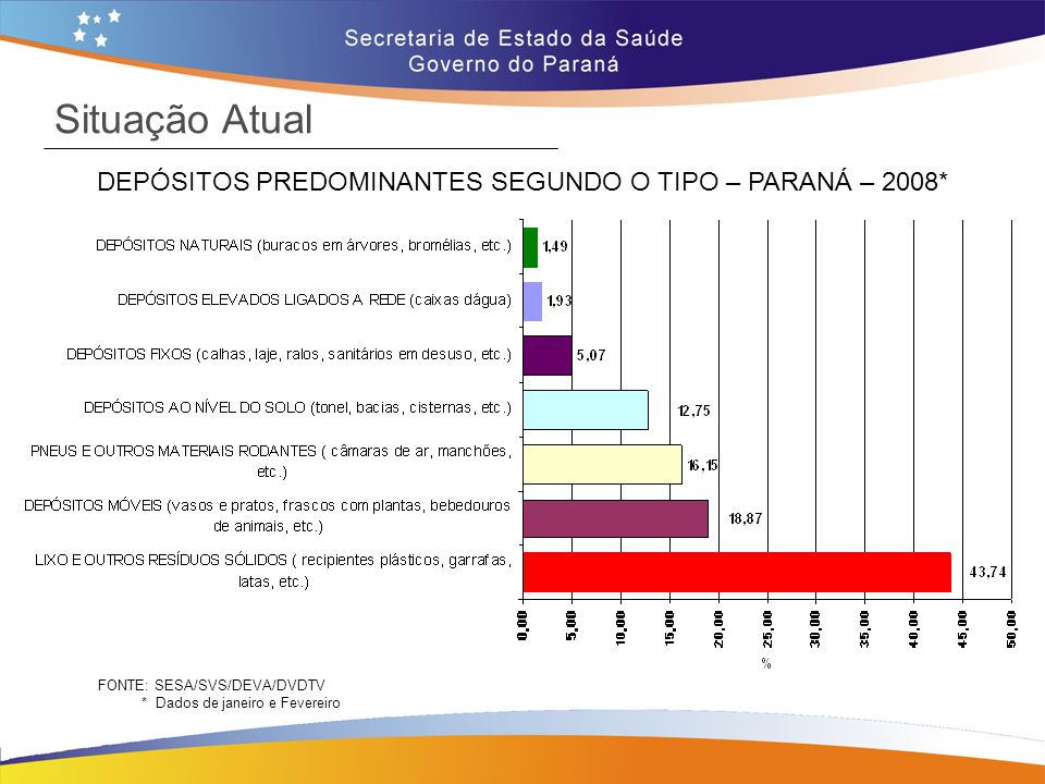 Situação Atual DEPÓSITOS PREDOMINANTES SEGUNDO O TIPO – PARANÁ – 2008* FONTE: SESA/SVS/DEVA/DVDTV * Dados de janeiro e Fevereiro