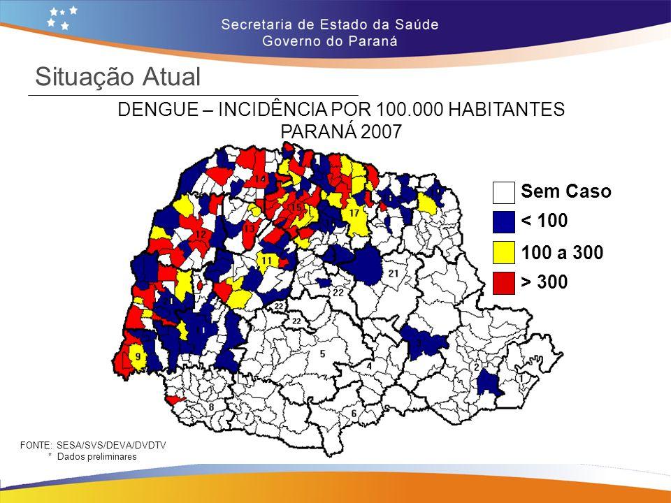 Sem Caso < 100 100 a 300 > 300 Situação Atual DENGUE – INCIDÊNCIA POR 100.000 HABITANTES PARANÁ 2008* (28 DE MARÇO) FONTE: SESA/SVS/DEVA/DVDTV * Dados até 28 de março de 2008 33 municípios