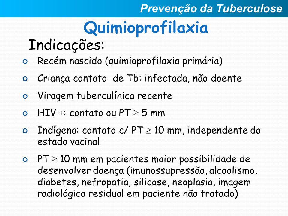 Indicações: Recém nascido (quimioprofilaxia primária) Criança contato de Tb: infectada, não doente Viragem tuberculínica recente HIV +: contato ou PT
