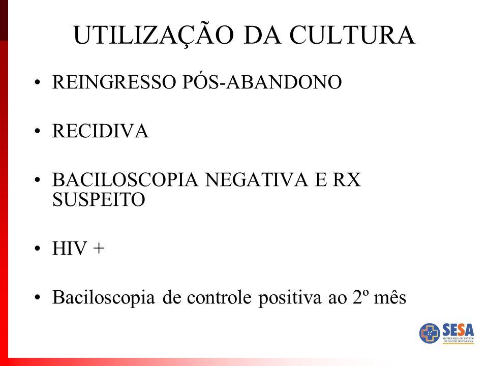 UTILIZAÇÃO DA CULTURA REINGRESSO PÓS-ABANDONO RECIDIVA BACILOSCOPIA NEGATIVA E RX SUSPEITO HIV + Baciloscopia de controle positiva ao 2º mês