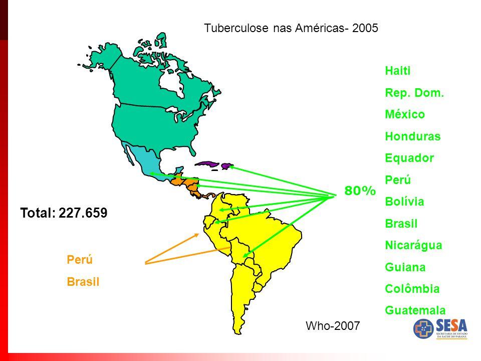 Perú Brasil Total: 227.659 80% Haiti Rep. Dom. México Honduras Equador Perú Bolívia Brasil Nicarágua Guiana Colômbia Guatemala Tuberculose nas América