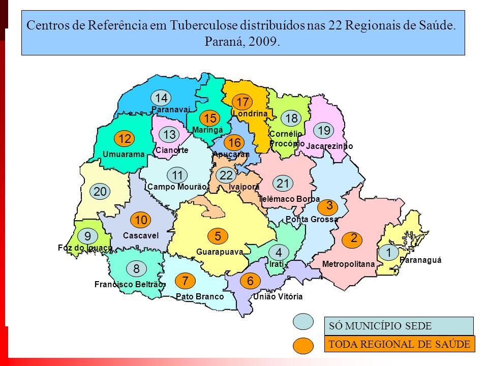 19 4 8 9 11 13 14 18 1 20 21 22 SÓ MUNICÍPIO SEDE TODA REGIONAL DE SAÚDE 2 3 7 5 6 10 12 15 16 17 Centros de Referência em Tuberculose distribuídos nas 22 Regionais de Saúde.