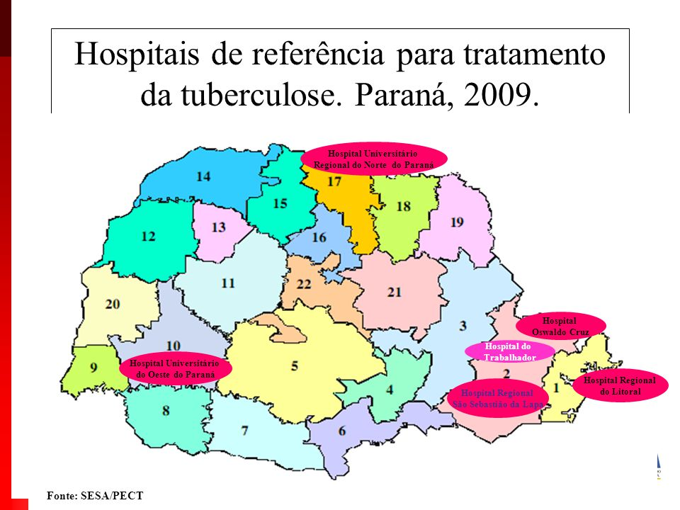 Hospitais de referência para tratamento da tuberculose.