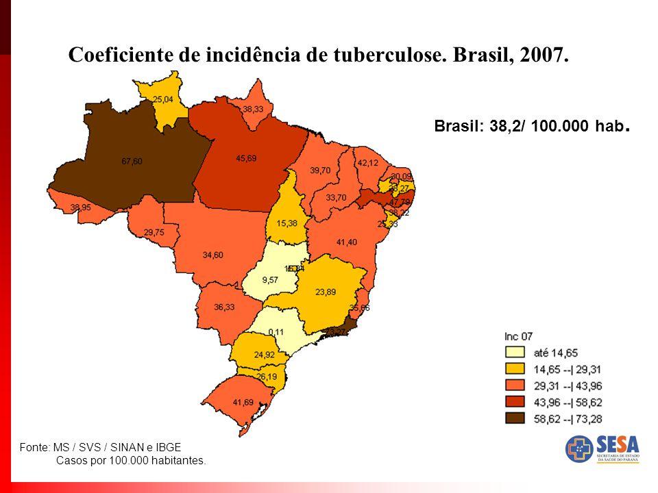 Coeficiente de incidência de tuberculose.Brasil, 2007.