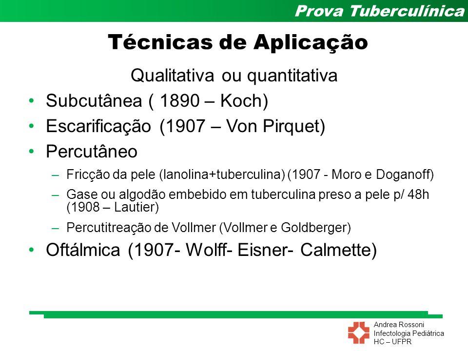 Andrea Rossoni Infectologia Pediátrica HC – UFPR Prova Tuberculínica Técnicas de Aplicação Qualitativa ou quantitativa Subcutânea ( 1890 – Koch) Escar