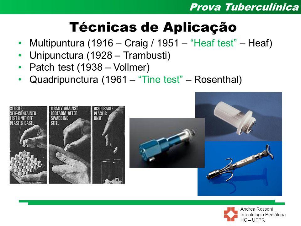 """Andrea Rossoni Infectologia Pediátrica HC – UFPR Prova Tuberculínica Técnicas de Aplicação Multipuntura (1916 – Craig / 1951 – """"Heaf test"""" – Heaf) Uni"""