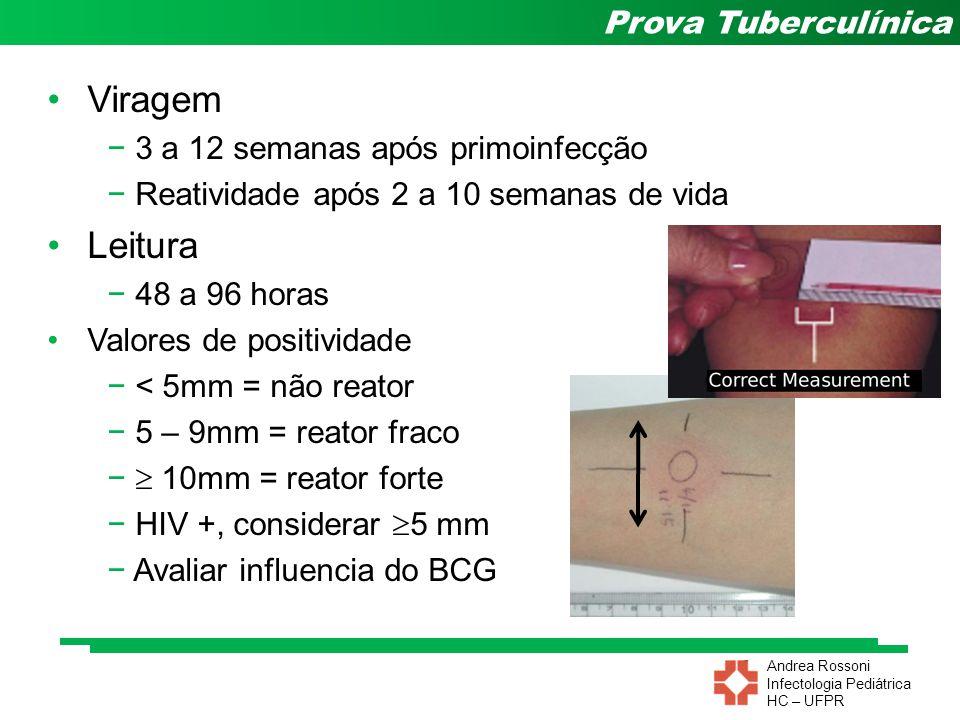 Andrea Rossoni Infectologia Pediátrica HC – UFPR Prova Tuberculínica Viragem − 3 a 12 semanas após primoinfecção − Reatividade após 2 a 10 semanas de
