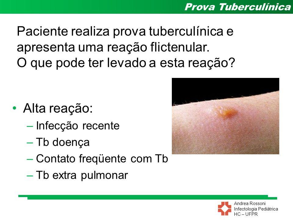 Andrea Rossoni Infectologia Pediátrica HC – UFPR Prova Tuberculínica Paciente realiza prova tuberculínica e apresenta uma reação flictenular. O que po