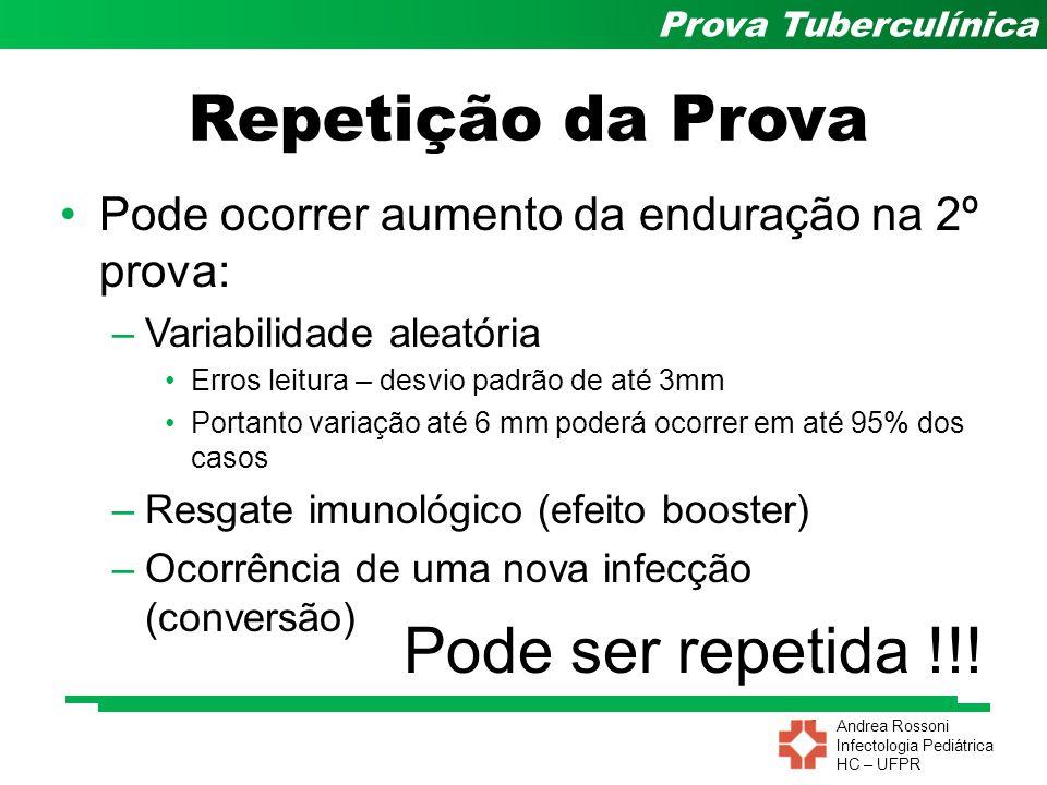 Andrea Rossoni Infectologia Pediátrica HC – UFPR Prova Tuberculínica Pode ocorrer aumento da enduração na 2º prova: –Variabilidade aleatória Erros lei